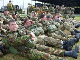 Members of 16 Air Assault Brigade waiting to emplane, Eindhoven airbase, 22 September 2012.
