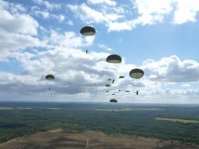 Paratroopers descend onto Ginkle Heath during 68th anniversary of Arnhem, 22 September 2012