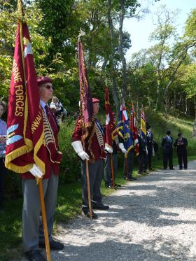 Standard Bearers at the Drum Head Service, Trebah Military Day, 2012.