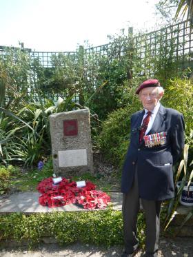 Major Tony Hibbert at the airborne forces memorial, Trebah Military Day 2012.