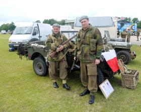 Polish re-enactors from 'LHG First to Fight' display airborne equipment at IWM Duxford 17 June 2012