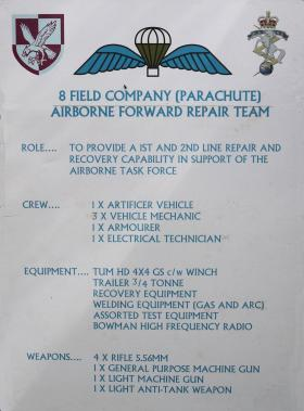 Display poster describing role of 8 Field Coy's Airborne Forward Repair Team, June 2012