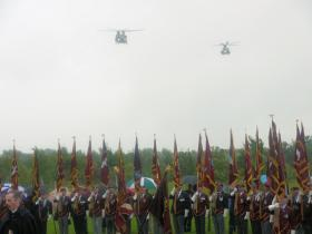 Flypast of RAF Chinooks at the dedication ceremony for the Airborne Forces National Memorial at the NMA, 13 July 2012.
