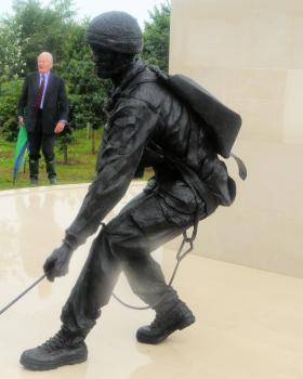 Close up of the national memorial at the NMA with Lt Gen Sir Hew Pike looking on, 13 July 2012.