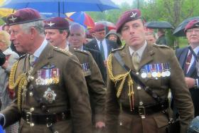 HRH Prince of Wales greets veterans at the Airborne Forces Memorial, NMA 13 July 2012.