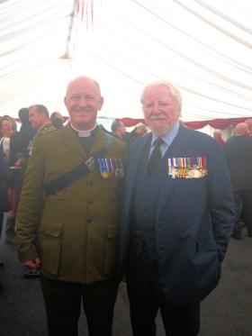 The Rev Jerry Sutton and Major Dick Hargreaves MC at the National Memorial Arboretum 13 July 2012.