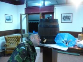 Paul Cavanagh getting a drink on the final night of the XXX Inter Parachute Schools Competition Portugal 2009