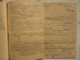 Driver James Bell release leave certificate and testimonial, 1945