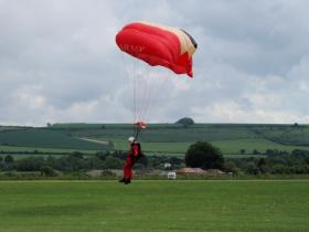 A member of the Red Devils landing at the Support Our Paras Event Old Sarum 2008