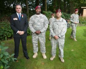 Two members of US Airborne Forces attending memorial service at Arnhem Oosterbeek cemetery, 23 September 2012.