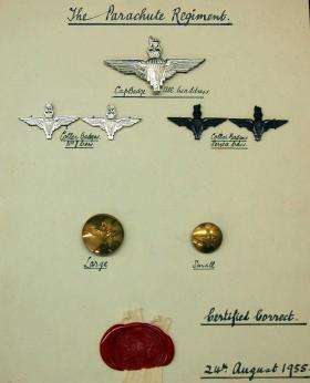 Patent Card for The Parachute Regiment, 1955.