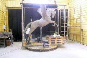 Clay Pegasus sculpture for The Parachute Regiment and Airborne Forces Memorial, September 2011.