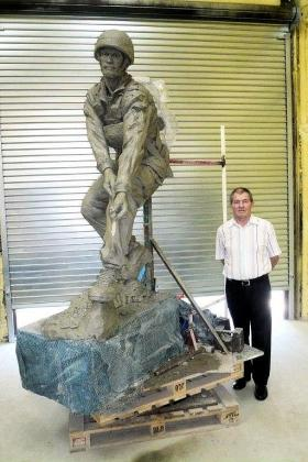 Clay paratrooper sculpture for The Parachute Regiment and Airborne Forces Memorial, September 2011.