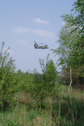 A Chinook flying over LZ S near Wolfheze 2009