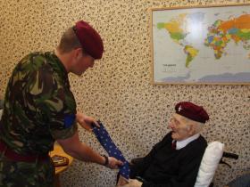 Lt Shackleton's presentation to Major John Timothy MC, 24 September 2011