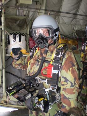 Sgt Tom Blakey prior to a HALO jump, date unknown.