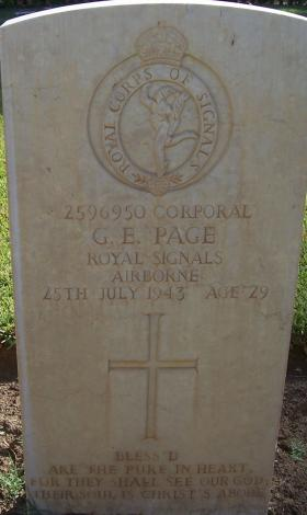 Headstone of Cpl G Page, Enfidaville War Cemetery, 2008.