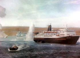 Norland and H.M.S. Antelope in San Carlos Water, 24th May 1982 painted by Steven Dews.
