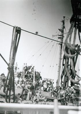 Images of Jewish immigrants on impounded ship Haifa docks, c1947-48.