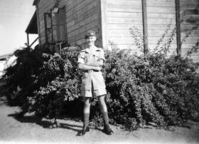 Pte Ted Atkins at Camp Kfar Vitkin Palestine 1946