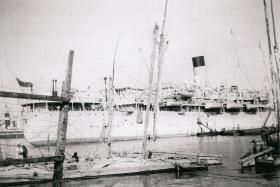 Troopship used to transport soldiers to Port Said for Palestine, 1947.