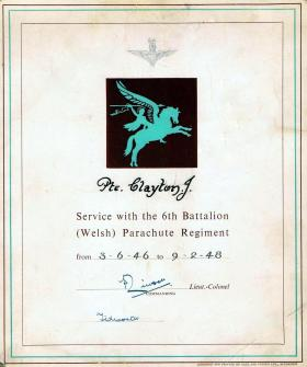 Private Joseph Clayton's certificate of service 1946-48.