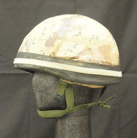 Helmet, Parachutist, with scrim, from the Airborne Assault Museum Collection, Duxford.