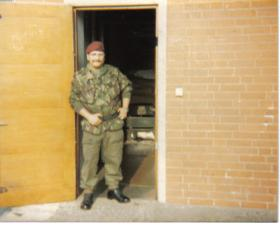 L/Cpl Irving outside 15 Para armoury early 80s