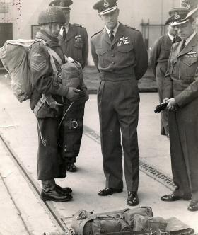 Sgt Pete Bing and HRH Prince Philip, RAF Abingdon, 1954.