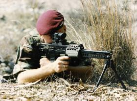 Para with an early version of the Light Support Weapon, c.1985.