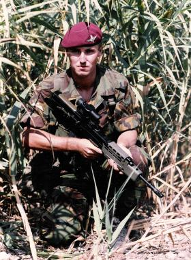 Para with an early issue SA80 rifle, c1985.