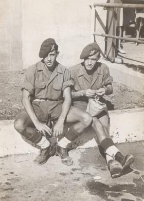 Stan Payne (left) with Cyril 'Squibs' Parkins in Palestine, 1946