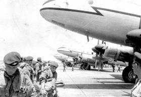 Members of 2 PARA in front of Hastings aircraft, Libya, 1959.
