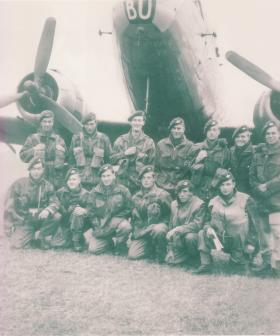 Group photo of member of 6th (Royal Welch) Parachute Battalion, Exercise Longstop, 1947