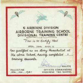 6th Airborne Division parachute qualification certificate Aqir Palestine 1947