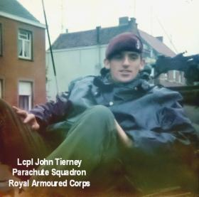 L/Cpl John Tierney on a very wet day, hence the disruptive pattern bin bag top