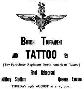 Programme for Final Rehearsal of the Parachute Regiment North American Tattoo, Aldershot 1969