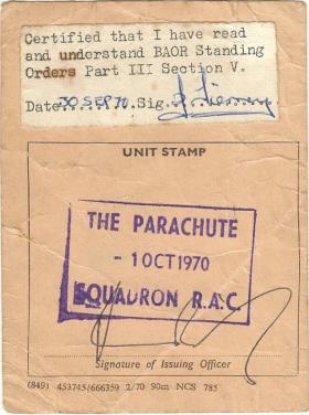 Baor Driving Permit 1970