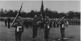 Trooping the Colour at Barrosa Square, Aldershot, 1958.