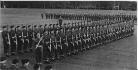 Soldiers 'Present Arms' Trooping the Colour, Barrosa Square, Aldershot 1958.
