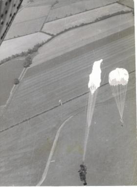 Parachute drop over Weston on the Green 1970