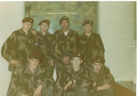 Seven members of 4 PARA on a parachute training course c1970