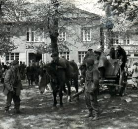 Paratroopers commandeer civilian transport for push from Rhine.