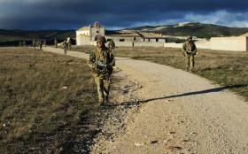 Paratroopers from B COY, 3 PARA on Ex Iberian Eagle, Spain, December 2012.