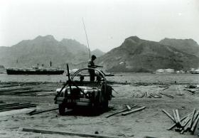 Paratroopers in Land Rover overlooking oil refinery, Aden, c.1967