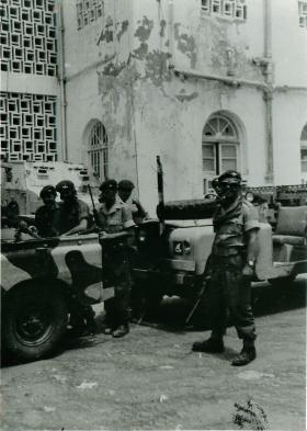 Paratroopers preparing to go on vehicle patrol, Radfan, Aden, 1964