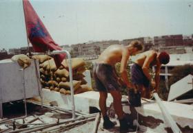 Soldiers repairing Radio Mast at Fort Walsh, Aden, 1967