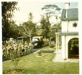 The burial party arriving for Sgt McNeilly's reinterrment at Kranji Military Cemetery, Singapore, 1965.