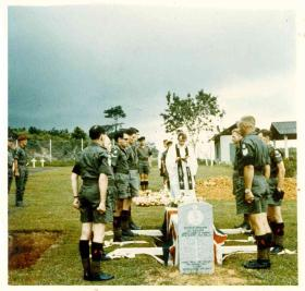 Re-burial ceremony of Sgt McNeilly at Kranji Military Cemetery, 1975.