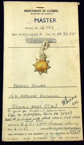 Patent Card for 16th Airborne Divisional Signals Regiment, 1951.